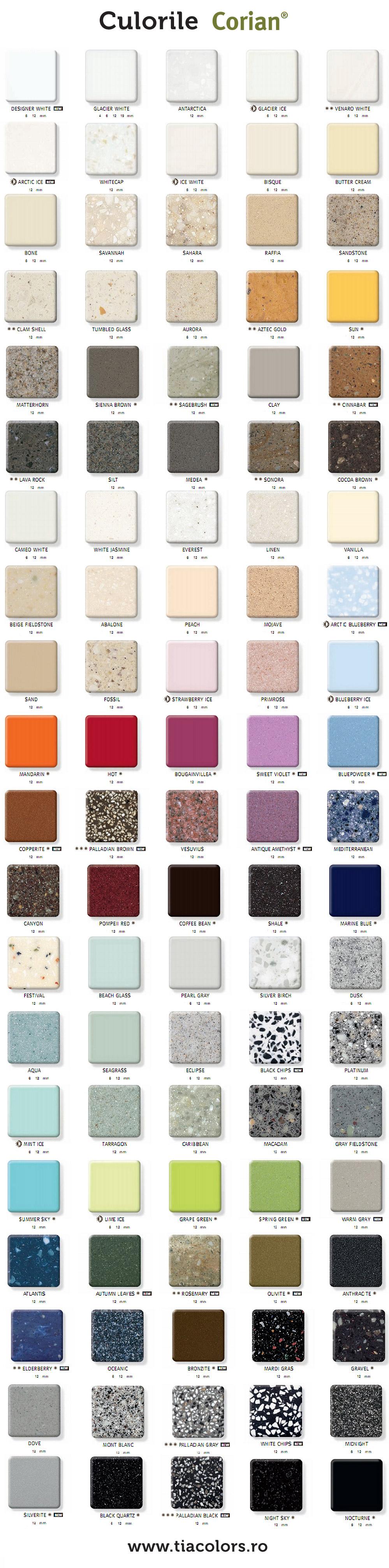 culorile Corian